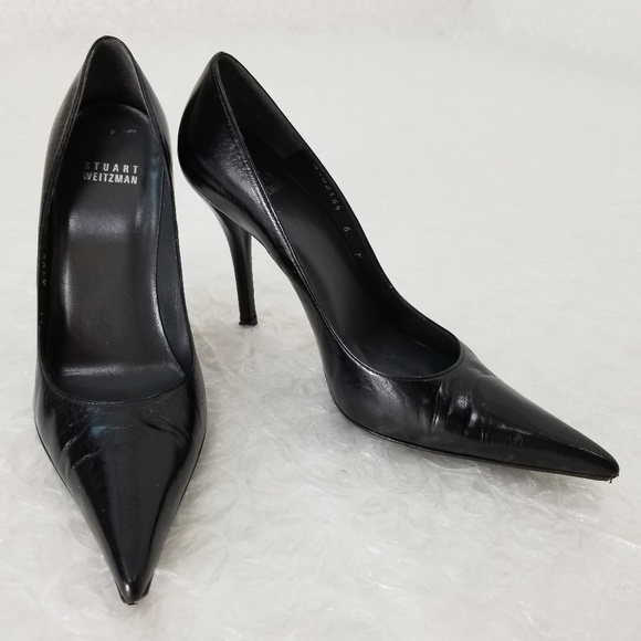 6dc3ffdbbe1 Stuart Weitzman black leather stilettos